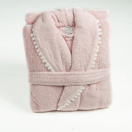 Луксозен халат с БРОДЕРИЯ розово