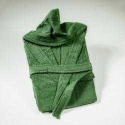 Плътен халат с качулка ЗЕЛЕН