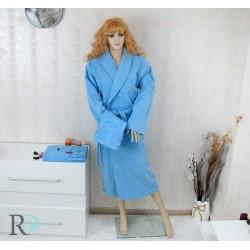 Уникален сет Халат с шал яка и 2 бр. Хавлии Debora в син цвят
