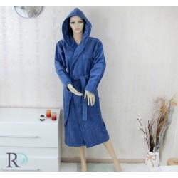 Луксозен халат за баня с качулка Monika ИНДИГО