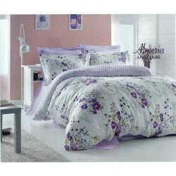 Спално бельо с кувертюра ALMERIA лила ранфорс