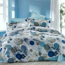 Спално бельо с кувертюра LAURA син ранфорс