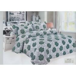 100% Микрофибър Спално бельо Сребристо с цветя