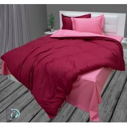 Памучен сатен Бордо-Корал спално бельо