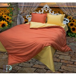 Памучен сатен Жълто-Оранжево спално бельо