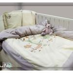 Луксозно бебешко спално бельо в бежово с бродерия МАЙМУНКА