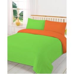Спално бельо с две лица Зелено с Оранжево