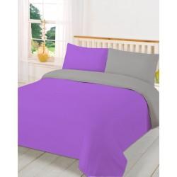 Спално бельо с две лица Лилаво и Сиво