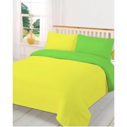 Спално бельо с две лица Жълто със Зелено