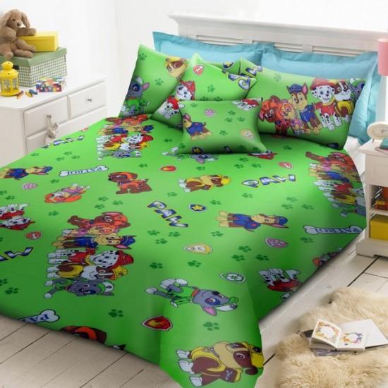 100% Памук детско спално бельо PAW PATROL зелено