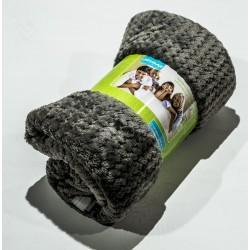 Дебело поларено одеяло на Вафлички в сиво