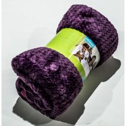 Дебело поларено одеяло на Вафлички в лилаво