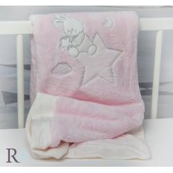 Бебешко одеяло Doddy с апликация в розово