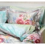 Спално бельо от памучен сатен FIORE green