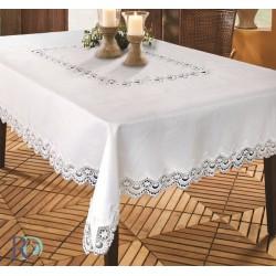 Празнична покривка за маса от жакард Бяла