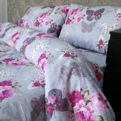 Спално бельо 100% Памук ПЕПЕРУДИ и РОЗИ лила
