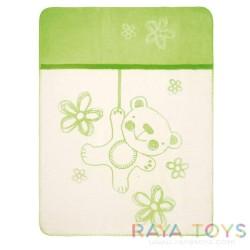 Памучно одеяло Teddy зелено