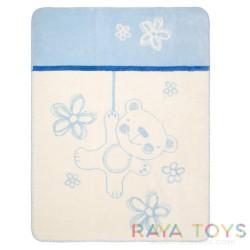 Памучно одеяло Teddy синьо