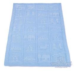 Плетено одеяло бебешко в синьо