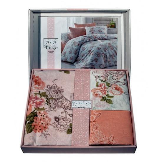 Спално бельо от фин памук Розалин корал