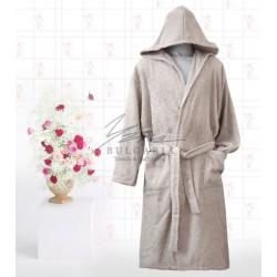 Едноцветен халат в сиво Яна