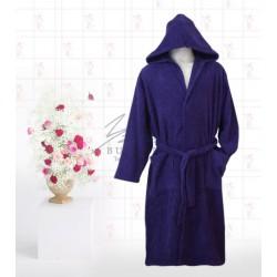 Едноцветен халат в синьо Яна