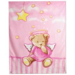 Бебешко одеяло микрофибър МЕЧЕ розово