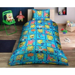 Ранфорс детско спално бельо Sponge Bob синьо