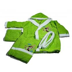 Комплект бебешки халат и хавлия ЩАМПА зелено