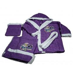 Комплект бебешки халат и хавлия Зайо лилаво