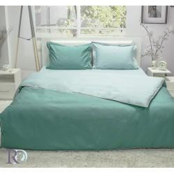 Спално бельо от памучен сатен зелено и тъмно зелено