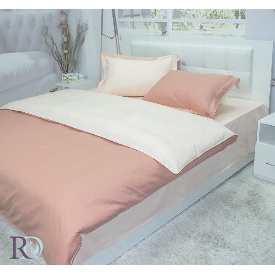 Спално бельо от памучен сатен оранжево и крем