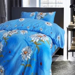 Спално бельо от 100% Памук Маргаритка в синьо
