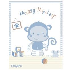 Луксозно бебешко одеяло Маймунка синьо
