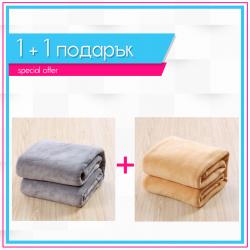 Одеяла 1+1 - сиво + бежово