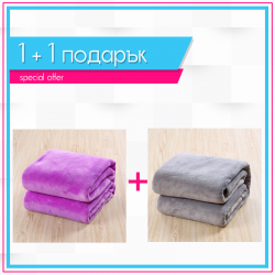 Одеяла 1+1 - лилаво + сиво