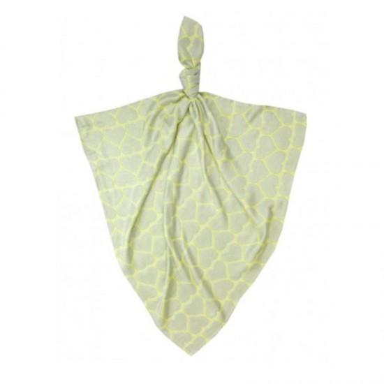 Луксозна бебешка пелена 100% бамбук Жълти сърчица 120/120
