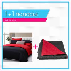 Спално бельо и шалте 1+1 - Черно и червено