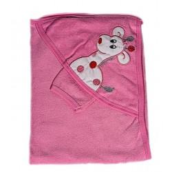 Бебешка хавлийка с жирафче Розово