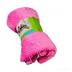 Пухкаво поларено одеяло Вафлички розово