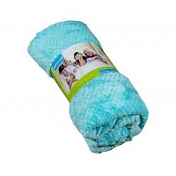 Пухкаво поларено одеяло Вафлички аква