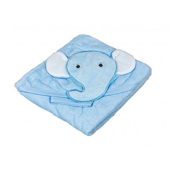 Бебешка хавлийка от органичен памук Слонче синьо