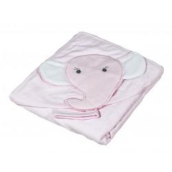Бебешка хавлийка от органичен памук Слонче розово