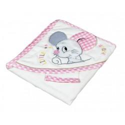 Бебешка хавлийка органичен памук Little mouse розово