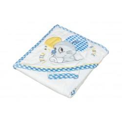 Бебешка хавлийка органичен памук Little mouse синьо