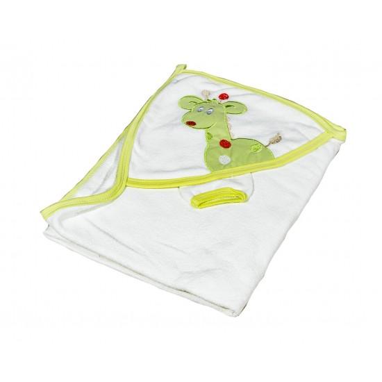 Бебешка хавлийка Жирафче бяло и зелено