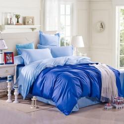 Двулицево спално бельо Синьо ранфорс