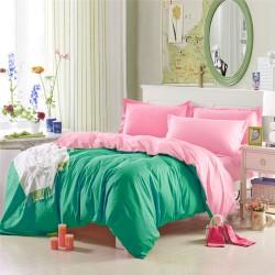 Двулицево спално бельо Зелено-Розово ранфорс