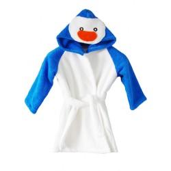 Детски халат от микропамук с Пингвин синьо