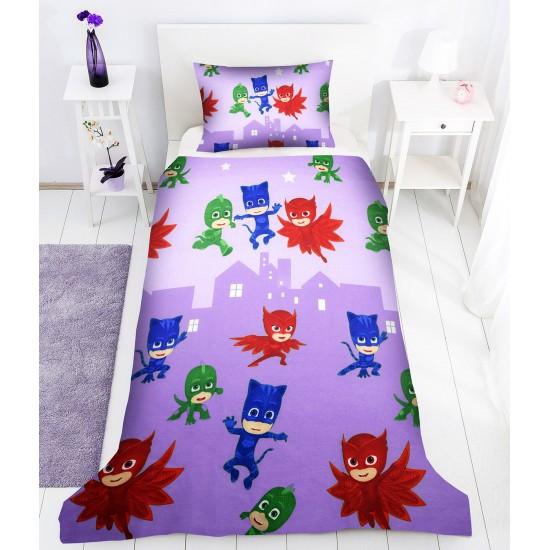 Детско спално бельо PJ Masks в лилаво